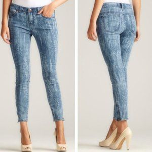 Free People Feather Print Ankle Zip Skinny Jeans